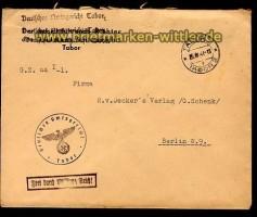 Böhmen portofreier Dienstbrief Tabor 26.4.1941  (10943)