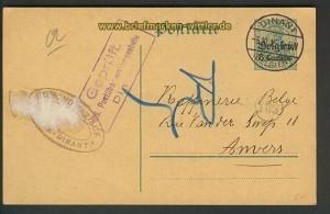dt. Post Belgien GSK Dinant 5.10.1915 Zensur (21300)