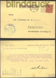 dt Reich Mi # D 30 EF Orts-DS-Karte Hannover gep(14394)