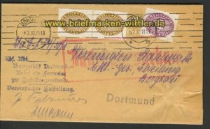 dt. Reich Dienst MiF Zustellurkunde Dortmund (20502)