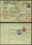 dt Reich Auslands-Paketkarte Mi #  72, 91 I+86 I(11256)