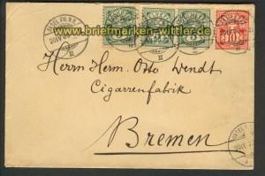 Schweiz Auslands-Brief Mi # 53 (3) + 54 1900 (21648)