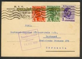 Rumänien Auslandspostkarte Bukarest 9.10.1939 (20510)