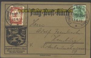 dt. Reich Mi # II Flugpostkarte Rhein-Main 1912 (13964)
