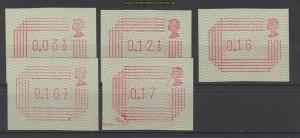 Großbritannien 5 postfrische ATM 1984 (20277)
