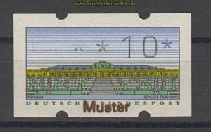 Berlin Muster-ATM 1987 10 Pfg. mit rks. Nummer (21473)