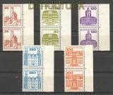 Bund Mi # 1139/43 postfrisch Burgen & Schlösser als senkrechte Paare mit Rand (21171)