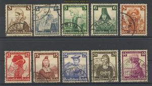 dt. Reich Mi # 588/97 Nothilfe 1935 Rundstempel (18008)