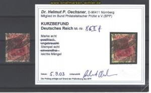 dt. Reich Mi #  86 II f gest. KB Oechsner BPP (11463)