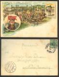 Gruß vom Jahrmarkt farb-Litho 1898 Gross-Hennersdorf (d3639)