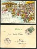 Gruß vom Lübecker Jahrmarkt farb-Litho-AK 1901  (d3643)