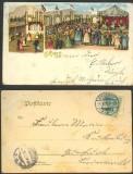 Gruß vom Jahrmarkt farb-Litho 1902 Eisleben (d3661)