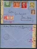 dt. Reich Mi # 830, 855/56 und 863 Auslands-Zensur-R-Brief (23420)
