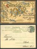 Neujahrskarte 1902 farb-Präge-AK Berlin 31.12.1901 (d3503)