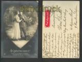 In Liebe treu vereint sw-AK Feldpostaufkleber 1916 (d3571)