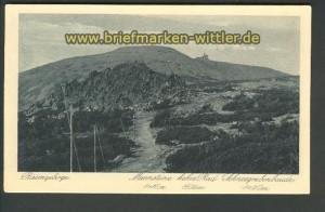 Riesengebirge sw-AK Mannsteine Schneegrubenbaude ungebraucht (d3753)