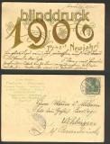 Prosit Neujahr 1906 Präge-AK Niendorf 1905 (d3803)