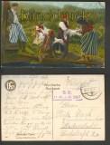 Polnische Typen farb-AK Lustige Wäscherinnen Feldpost 1917 (a0721)