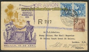 Spanien 2 x Mi # 988 auf Auslands-Brief Melilla 1951 (23704)