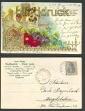 Im Garten blühen die Blumen farb-Präge-AK 1904 (d4034)
