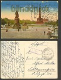Berlin farb-AK Bismarck-Denkmal + Siegessäule 1917 (d4043)