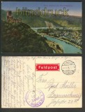 Burg Lahneck farb-AK mit Niederlahnstein 1916 (d4067)