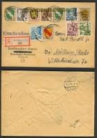 franz. Zone Allg. Ausgabe R-Brief Buntfrankatur Überlingen (23972)