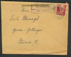 Kleinmilkau über Mittweida Landpoststempel 1949 (24233)