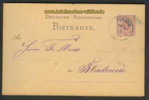 dt. Reich GSK 1877 blauer Stempel Koesen (24426)