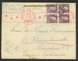 Dänemark Auslands-Zenaur-Brief 1947 Riemer A-28 (24583)