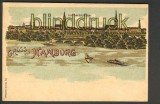 Gruss aus Hamburg farb-Litho-AK Lombardsbrücke (d4349)