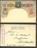 Guatemala farb-Präge-AK Briefmarkenmotive 1908 (a0827)