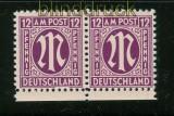 Bi-Zone AM-Post Mi # 7 I im postfrischen waagerechten Paar (25181)