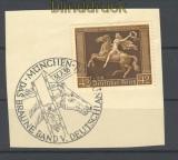 dt. Reich Mi # 671 mit SSt. auf Briefstück München-Riem (18009)