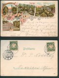 Bad Brückenau farb-Litho-AK 4 Ansichten 1898 (d4768)