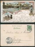 Merseburg farb-Litho-AK 4 Ansichten Bahnpost 1898 (d4815)