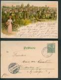 Erfurt farb-Litho-AK Panoramaansicht 1901 (d4823)