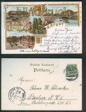 Erfurt farb-Litho-AK 4 Ansichten 1898 (d4824)