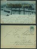Gruss aus Stettin sw-AK Hafen und Post Mondscheinkarte 1899 (d4834)