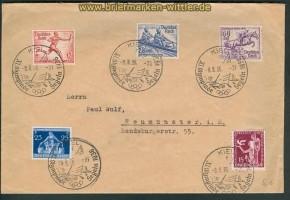 dt. Reich Mi # 613, 615 + 615 SSt. Olympaide Kiel Segeln 1936 (25430)