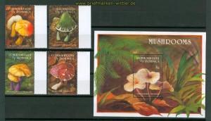 Pilze Dominica 4 Marken und 1 Block postfrisch (26207)