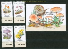 Pilze Grenada 4 Marken und ein Block postfrisch (26208)