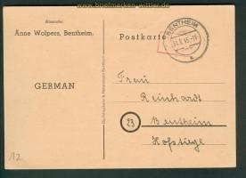 all. Besetzung Bentheim Gebühr bezahlt 31.8.1945 (26262)
