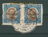 Island 2 x Mi # 148 auf Briefstück gestempelt  (27135)