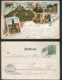 Gruss von der Wartburg farb-Litho-AK 5 Ansichten 1901 (d5391)
