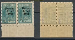 dt. Besetzung Pernau Mi # 3 A II/V und 3 A II Paar postfrisch (27238)