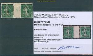 Memelgebiet Mi # 54 b MS 1 Zwischensteg ungebraucht Befund (27240)