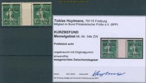 Memelgebiet Mi # 54 b ZW Zwischensteg ungebraucht Befund (27241)