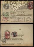 Deutsches Reich 2 x Mi # 94 A I und Mi # 90 I auf Auslandspaketkarte Dresden 1914 (27926)