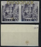 Saarland Mi # 221 U waagerechtes Paar Haftspur und posttfrisch ungezähnt (28050)